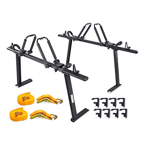 AA Products APX25 Toyota Tacoma 2016-On Aluminum Truck Rack with (8) Non-Drilling C-Clamps and (2 Sets) Steel Folding Kayak J-Racks w/Extended Bolts and (2) Heavy Duty 1 Ton Ratcheting Strap