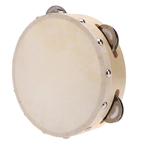 Andoer 6in Hand Held Tambourine Drum Bell Metal Jingles Percussion Musical Toy for KTV Party Kids Games -