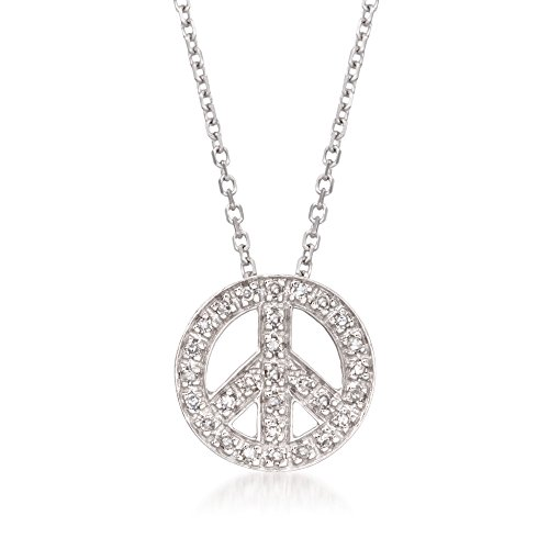 Ross-Simons 0.10 ct. t.w. Diamond Peace Sign Necklace in 14kt White Gold