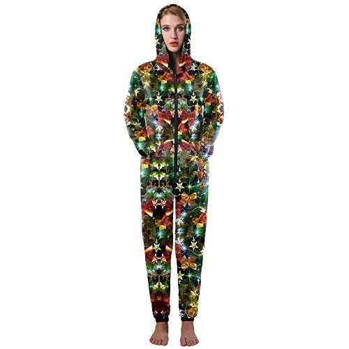 Green Lantern Costumes Pattern (EnlaChic Adult 1pc Christmas Tree Print Full Bodysuit Onesie Jumpsuit Costumes,Light,L/XL)