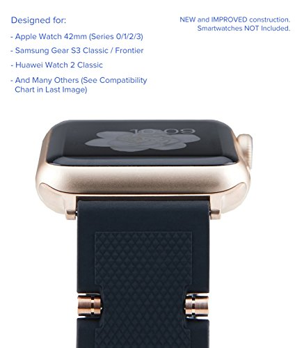 Truffol Crowns 22mm Soft Silicone Rubber Sport Band for Apple Watch 42mm, Samsung Gear S3 Frontier & Classic, Huawei Watch 2 Classic - Replacement Quick Release Watch Strap (Black/Champagne Gold)