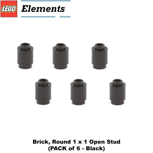 Lego Parts: Brick, Round 1 x 1 Open Stud (PACK of 6 - Black)