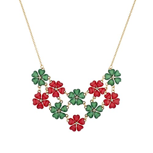 - Lux Accessories Gold Holiday Christmas Xmas Red Green Mini Floral Flower Collar Chain Statement Necklace