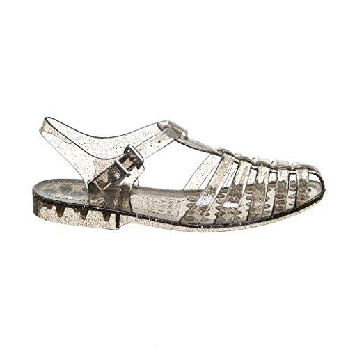 Kvinners Elegant Sommer Stil Glitter Jelly Flate Sandaler Smokeglitter
