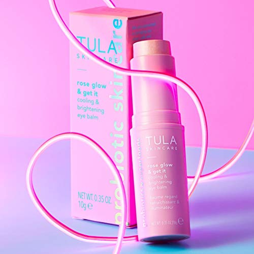 TULA Skin Care Rose Glow & Get It Cooling & Brightening Eye Balm | Dark Circle Under Eye Treatment, Instantly Hydrate and Brighten Undereye Area, Perfect to Use On-the-go | 0.35 oz.