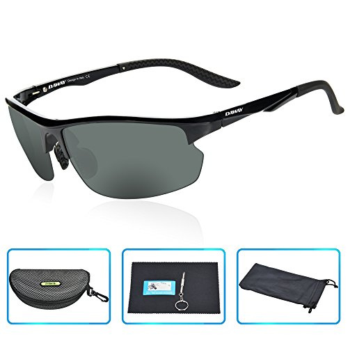 DAWAY SG15BB UV400 Polarized Sports Sunglasses for Mens Driving Fishing Golf Cycling - TAC Lens with Lightweight TR90 - Best Lens Golf Sunglass Color For