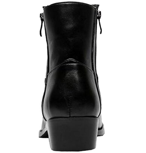 High Leather Punk Pointed Plush Toe Men's Inner PPXID Black Top Boots qwO0t0