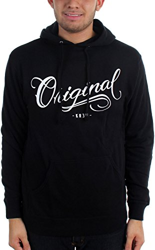 KR3W Mens Los Originales Hoody Pullover Sweatshirt/Sweater, Black, Large