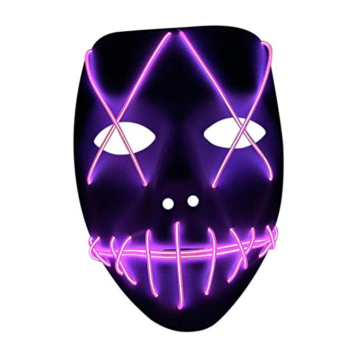 Nuoka Costume Halloween Horror Scary Cosplay Light Therap Led Mask (Pink) -