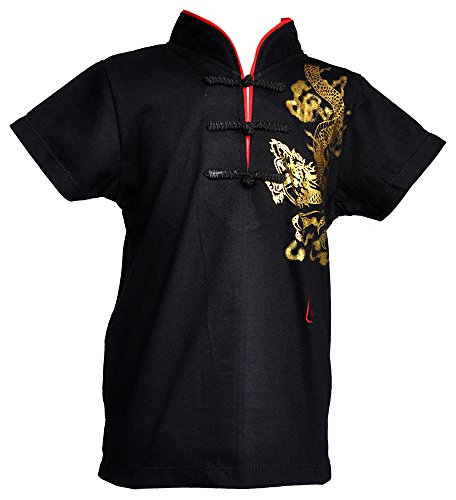 [Amazing Grace Kids' Chinese Collar Traditional Top Cotton Tee Shirt (XX-Large, Black)] (Chinese New Year Costumes)