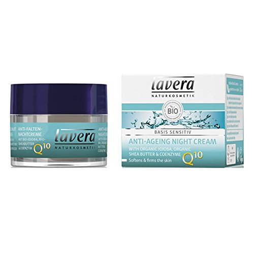 Lavera Natural Anti-Aging Night Cream For Sensitive Skin - Lightweight, Fast-Absorbing - Softer, Smoother, Soothed and Younger Complexion (1.6 oz)
