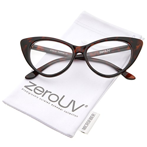 zeroUV - Retro High Sitting Temples Clear Lens Exaggerated Cat Eye Glasses 55mm (Dark-Brown-Tortoise / - Eyes Cat Brown