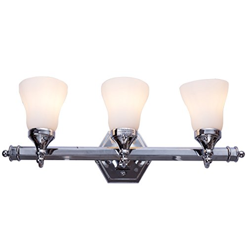Tangkula Bathroom Vanity Light Antique Brushed Wall Mounted with White Alabaster Wall Sconces Glass Shade Bath Wall Sconce Pendant Lamp Polished, 32W UL(Polished Chrome 3 Lights)