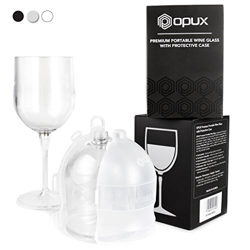 Premium Unbreakable Wine Glass by OPUX | Collapsible, BPA Free, Dishwasher Safe | Ideal for Camping, Picnics, Outdoor and Indoor Use | Great Gift for Wine Lovers (With Protective Case, - Glasses Collapsible