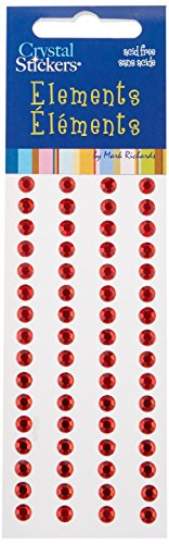 Mark Richards Elements Crystal Stickers 1662 Self-Adhesive 64-Piece Round Rhinestones Crystal Sticker Strips, 5mm, Red Crystal Stickers Stones