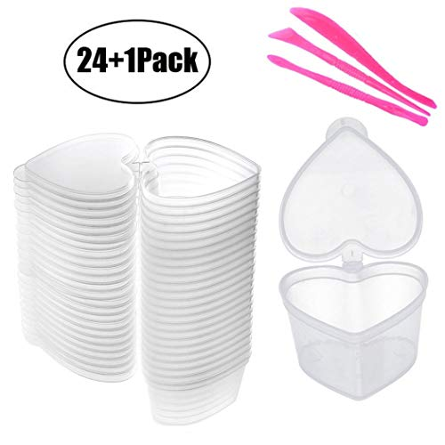 (BSTYU Slime Storage Container - 24 Pack Heart-Shaped Slime Slime Box Tank with Lids - Leak-Proof Transparent Plastic Foam Ball Slime Storage Containers)
