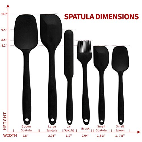 Covotna Sillicone Spatula Set Of 6 Piece Kitchen Utensil Non-Stick Silicone Spatula Set with Reinforced Stainless Steel Core High Heat Resistant for Cooking,Baking and Mixing (Black)