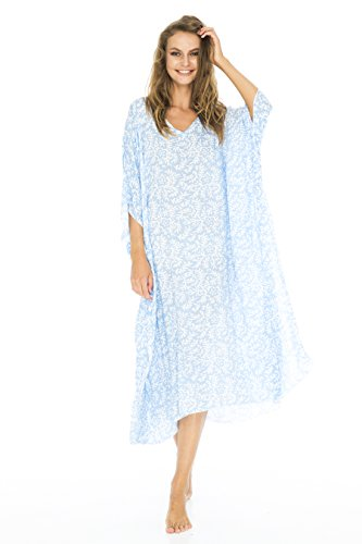 Back From Bali Womens Loose Maxi Beach Dress Cover up Long Poncho Bun Blue