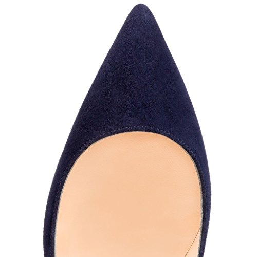 ELASHE Women High Heels Pumps | Pointed Toe Slip On Stiletto | 12cm Elegante Court Shoes Suede-Navy yWGouf