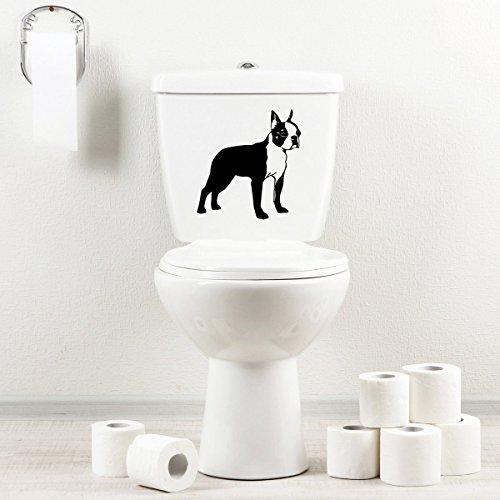 StickAny Bathroom Decal Series Boston Terrier 5 Sticker for Toilet Bowl, Bath, Seat (Black)