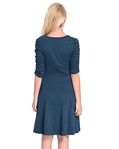 Casual Dress Women's Blue line line A Sleeves Dress A Kenancy nbsp;Half Ruched Solid Flare PwYqfBf