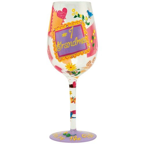 "Enesco Designs by Lolita ""#1 Grandma"" Hand-painted Artisan Wine Glass, 15 oz"