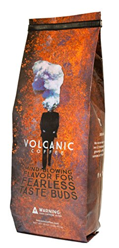 Volcanic Coffee, Strongest Coffee, High Caffeine, Ground, Fresh Roasted, 16-ounce