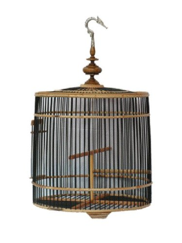 Popular Elegant Elaborate Blonde Color Hanging Sa-moa Roof Rattan and Bamboo Wood Bird Cage Rattan Cylindrical Style Size 18''-19'' Made in Thailand by Wooden Bird Cage