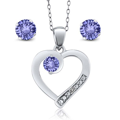 Gem Stone King Tanzanite and White Diamond 925 Sterling Silver Heart Shape Pendant with Gift (1.57 cttw)