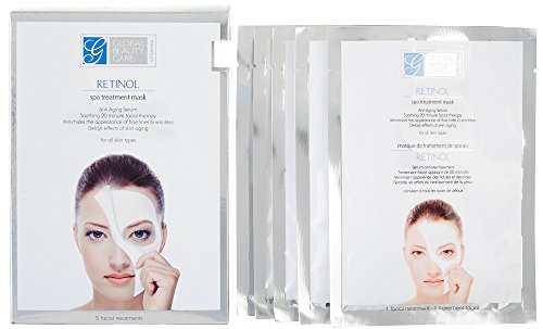 Global Beauty Care Retinol Spa Anti-Aging Treatment Mask Pack of 5 (Global Care)