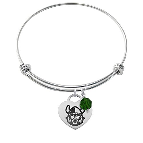 Cleveland State University Vikings Stainless Steel Adjustable Bangle Bracelet with Heart Charm & Crystal - Steel Stainless Cleveland Bracelets