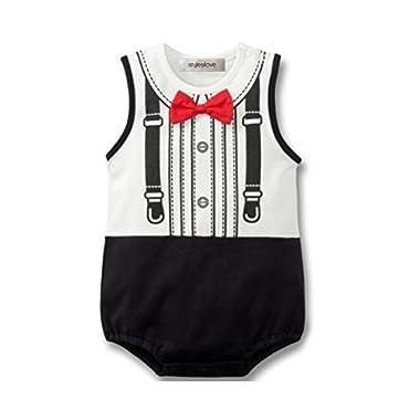 StylesILove Baby Boy Tuxedo Print Creeper With 3D Bowtie (6-12 Months)