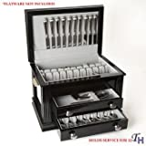 Ricci Argentieri Black Laquer 3-Drawer Flatware Chest