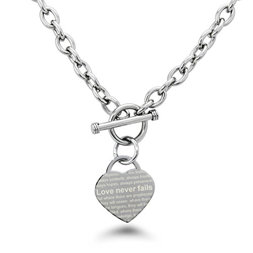(Stainless Steel Love Never Fails 1 Corinthians 13: 6-8 Heart Charm, Necklace Only)