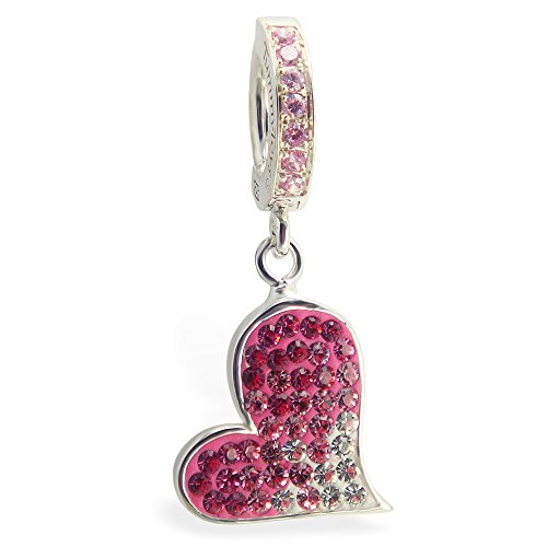 Tummy Toys Hot Swarovski Crystal Heart With Light Pink Pave Clasp Sexy in a snap navel jewelry ()