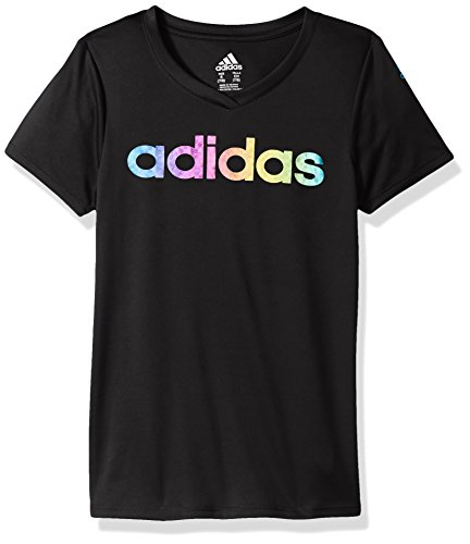 adidas Girls Big V-Neck Performance T-Shirt, Black, S (7/8)