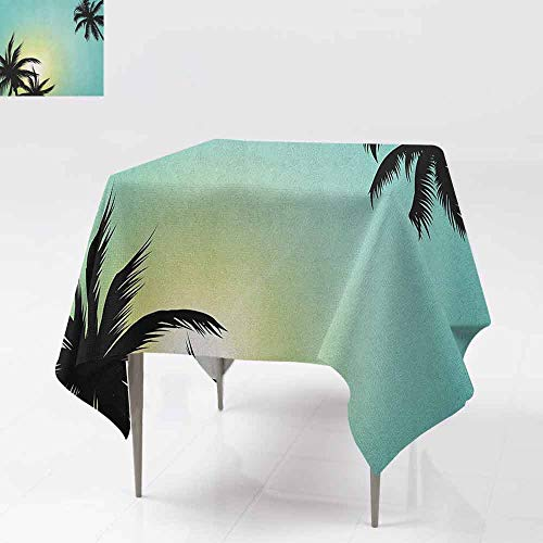 AndyTours Spillproof Tablecloth,Modern,Hawaiian Miami Beach Island Palm Trees with Sun Like Clear Skies Art Print Image,Great for Buffet Table, Parties& More,60x60 Inch Seafoam -