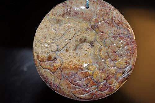 ✦ Bella-gems ✦ 52x9mm Beautiful Madagascar Ocean Jasper Carved Peony Flower Large Disc Pendant - A1231