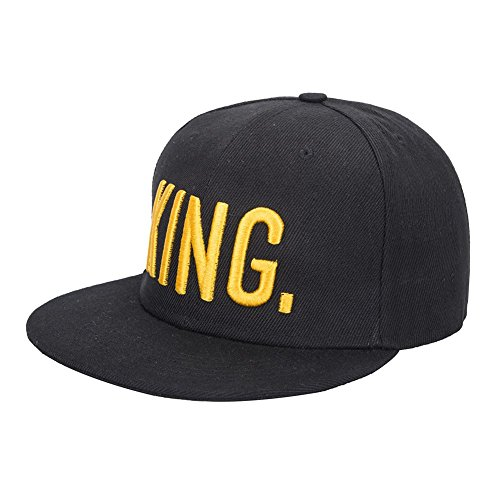 KING and QUEEN Embroidered Hat Lovers Couples Snapback Caps Adjustable Hip-Hop Hats (KING) by Wendy Wu