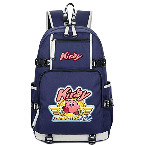 (Gumstyle Kirby Game School Bag Backpack Shoulder Book Bags for Boys Girls Students Blue)
