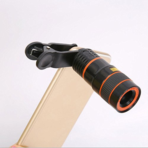 YU Mobile Phone Camera Telescope 8 Times Mobile Telescope Black and White Orange Circle Mobile Phone External Lens,Black by YU