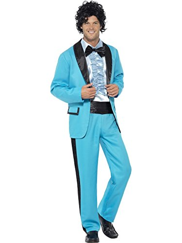 Hommes S Blue 80s Prom Date King Fancy Dress Costume Costume Dress