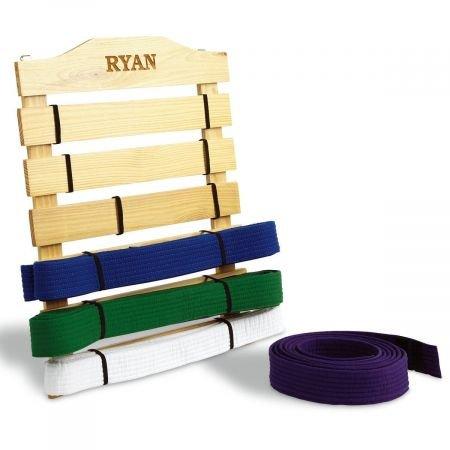 Lillian Vernon Personalized Martial Arts Belt Wooden Display Rack - Holds 6 belts