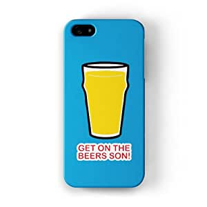 Get On the Beers Son Funda Completa de Alta Calidad con Impresión 3D, Snap-On, Diseño Negro Formato Duro parar Apple® iPhone 5 / 5s de Chargrilled