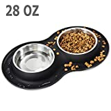 Kulmeo Dog Bowl Cat Food Bowls Stainless Steel Dog Food and Water Bowls with Non Skid Silicone Mat Spill Proof Puppy Bowl Medium Pets Cats Dogs 28oz Black