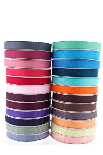 Trimweaver 3/8-Inch Grosgrain Ribbon, 5-Yard, 24 Spools, Multi (Solid Turftan Grosgrain)