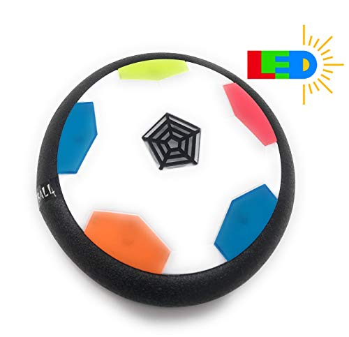 Air Powered Electric Soccer Football Disc Ball Toy WithLED Lights For Indoors & Outdoors Soft Padded Rubber Foam Protector Use As Hover Hockey Disc, Gliding Ball Or Kicking Play Ball - Assorted Colors
