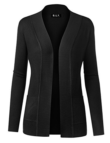 BH BILY USA Women#039s Open Front Long Sleeve Classic Knit Cardigan Black Small