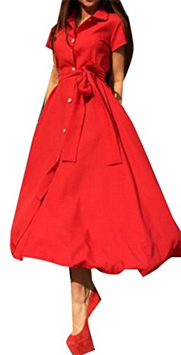Dress Irregular Slit Bandage Button Down Cromoncent Sleeve Womens Red Button Short zqzwHYp