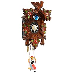 Alexander Taron 0126-6SQ Engstler Battery-Operated Clock - Mini Size with Music/Chimes - 6.75 H x 5 W x 2.75 D Brown